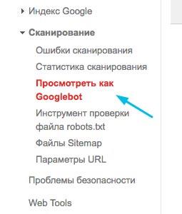 Функция посмотреть как googleбот в Google Search Console