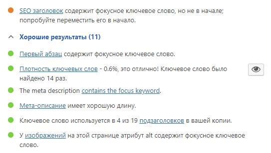 Подсказки Yoast относительно положения ключа в заголовке для лучшего SEO сайта