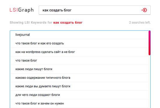 Сервис LsiGraph по поиску ключевых слов для SEO сайта