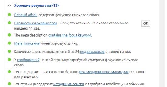Подсказки плагина Yoast для SEO сайта