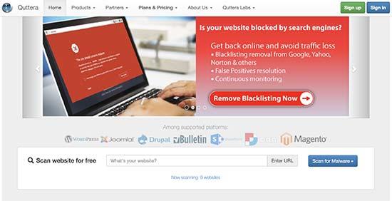 Quttera - инструмент для проверки безопасности сайта