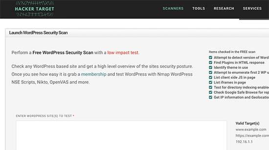WordPress Security Scan - сервис для проверки безопасности сайта