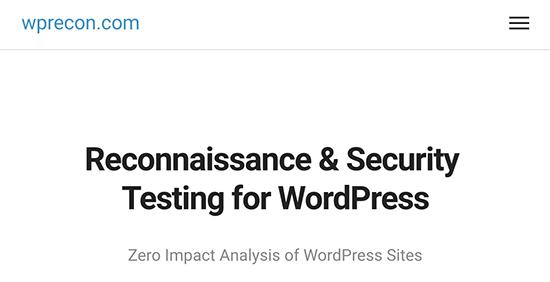 wprecon - еще один инструмент для проверки безопасности сайта