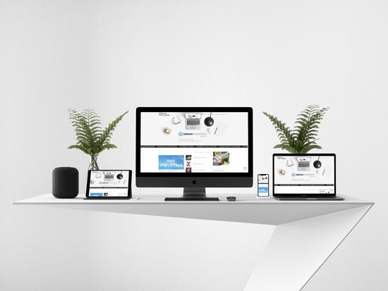 Вы можете заказать сайт у нас. Вот так смотрится сайт на imac, macbook, ipad и iphone
