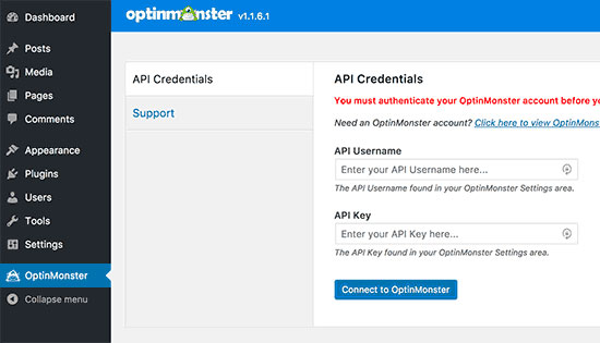 Ключ API в сервисе OptinMonster для создания формы подписки на сайте WordPress