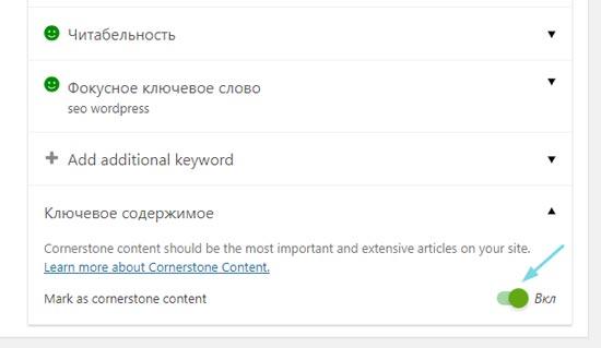 Активная опция Cornerstone Yoast у статьи на сайте WordPress