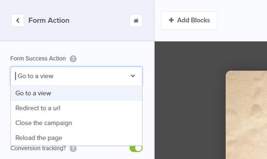 Настройки опции Action формы подписки OptinMonster
