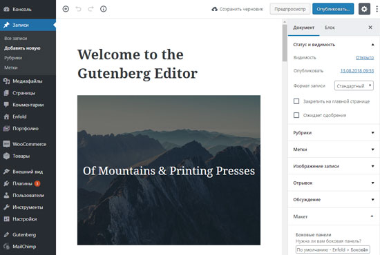 Окно редактора Gutenberg WordPress