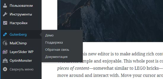 Пункты меню Gutenberg WordPress в админке