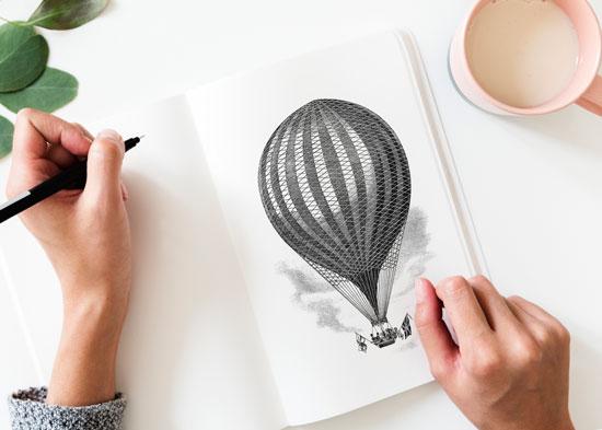 Бесплатные фотостоки - пример фото нарисованного карандашом воздушного шара с фотостока Life of Pix