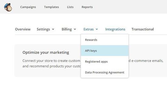 Ключ API в сервисе MailChimp