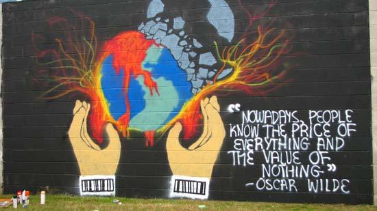 Бесплатные фотостоки - пример фото высказывания Оскара Уайльда в виде граффити на стене с фотостока Morguefile