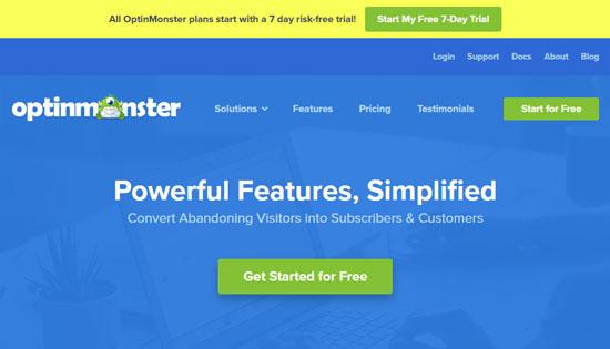 Сайт OptinMonster - сервиса для создания формы подписки