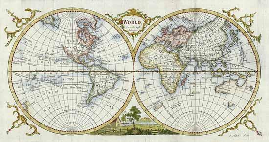 Бесплатные фотостоки - пример фото карты мира в 1777 году с фотостока Ancestry Images