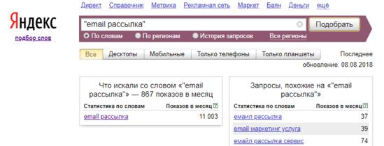 Как искать статистику ключевика в Yandex Wordstat по точному совпадению (используя кавычки)