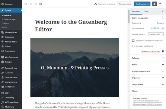 Редактор Gutenberg WordPress