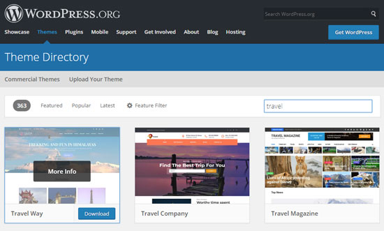 Темы из официального каталога WordPress для блога о путешествиях