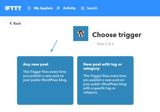Автопостинг с сайта WordPress в Facebook с помощью IFTTT