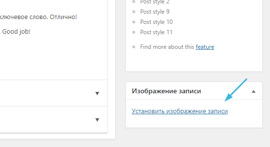 Установка изображения записи в WordPress