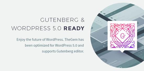 TheGem совместима с новым редактором Gutenberg