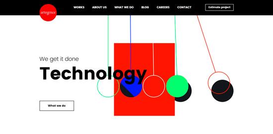 Пример использования асимметричного макета сайта Artegence (веб-дизайн 2020)