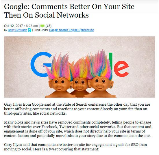 Google любит активное сообщество и комментарии на сайте больше, чем в социальных сетях.