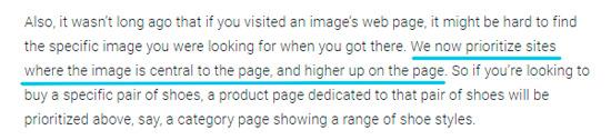 Расположение фото наверху в контенте - важный фактор по мнению Google для ранжирования по визуальному поиску