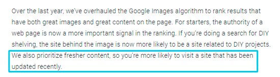 Свежий контент - важный фактор по мнению Google для ранжирования по визуальному поиску.
