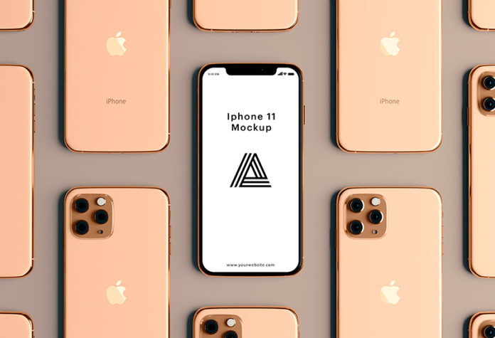 Мокап iPhone 11 Gold скачать бесплатно