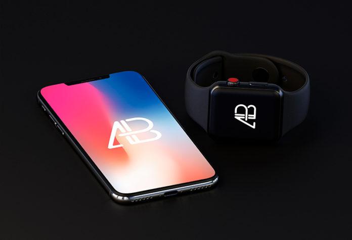 Мокап iPhone X и Apple Watch 3 скачать бесплатно