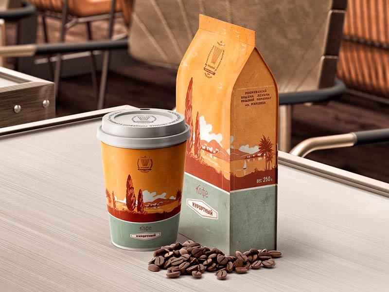Мокап стакана и пакета кофе бесплатно