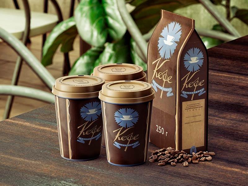 Мокап стакана и упаковки кофе бесплатно