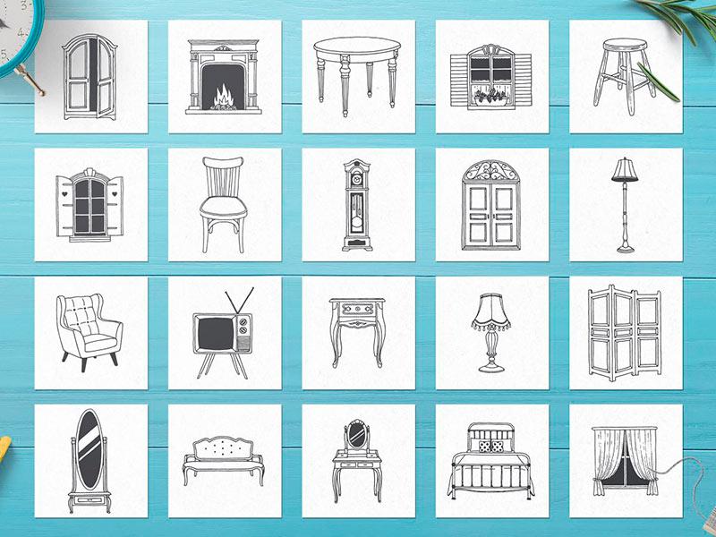 Набор иконок интерьера дома бесплатно