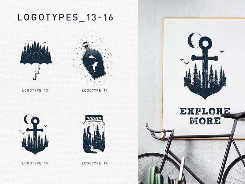 Набор креативных логотипов