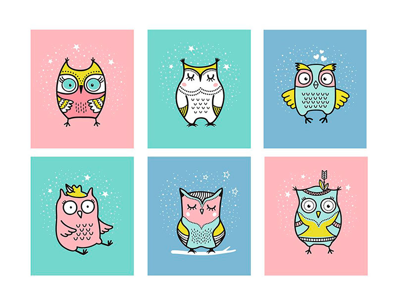 Нарисованные рукой совы бесплатно