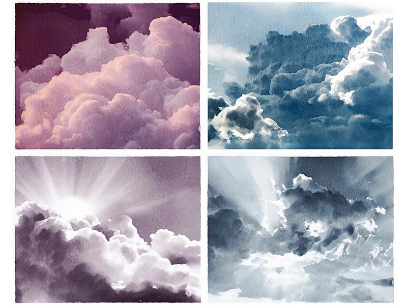 Фоны неба акварелью бесплатно